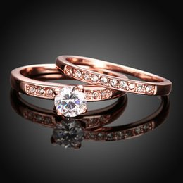 Wholesale 14k Gold Couple Rings - Luxury jewelry Simulated diamond Lover Rings Fashion Austrian Crystal Ring Rose Gold Plated Couple Rings Set 2 Layer Silver Anneau Wholesale