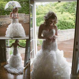 Wholesale Dror Wedding Dresses - Custom Made Crystal Pearls 2017 Backless Wedding Dresses Tiered Skirts Beads Inbal Dror Mermaid Bridal Gowns Luxury Fishtail Wedding Dress