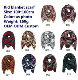 Wholesale Baby Warming Blanket - Kids Plaid Scarf Baby Tartan Scarf Wraps Autumn Winter Baby Scarf Shawl Kids Plaid blanket Fashion Warm Neckerchief 10style 915