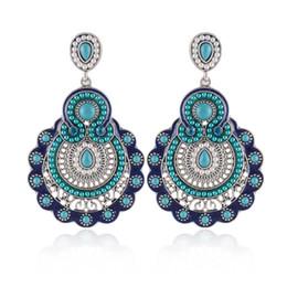 Wholesale Vintage Jade Beads - New Design Fashion Charm Vintage Bohemian Beads Earrings Jewelry Alloy Hollow Flower Pendant Drop Earrings for Women,brincos