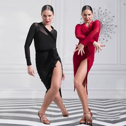 Wholesale India Black Red - Comfort Latin Dancing Dresses For Ladies Black Red Lace Velvet Skirts Traditional Female Women Square India Modern Costumes B051