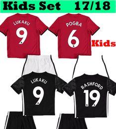 Wholesale Martial Uniforms - Kids Man Utd LUKAKU Pogba 2017 2018 Children Home Red MARTIAL soccer Jerseys+Shorts uniform Set 17 18 United kits Away Boys football shirts