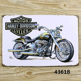 Wholesale Metal Sign Motor - Wholesale- Motor Cycles Vintage Metal Tin Signs Retro Tin Plate Sign Wall Decoration for Cafe Bar Shop and Restaurant