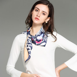 Wholesale Square Polyester Scarves - 70*70cm Fashion Female Scarf For Women Polyester Silk Scarf Flowers Animal Print Satin Big Square Scarf Shawl For Ladies Neckerchief Gift