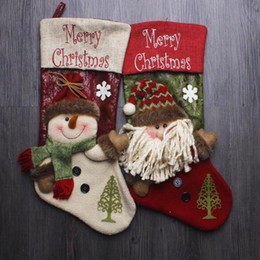 Wholesale Stocking Socks For Kids - 43*22CM Merry Christmas Sockings Santa Claus Snowman Socks Party Gift Candy Bag For Kids Oversize Christmas Sockings High Capacity Storage