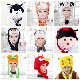 Animales felpa de piel sintética Animal Critter Hat Cap Soft Warm Winter  Headwear Corto con orejas Poms y Flaps felpa sombrero Novedad Cap Gorros 2ef1e7ebd46