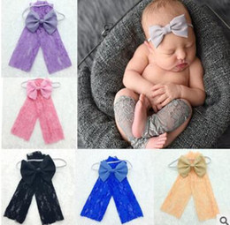 Wholesale Infant Girl Christmas Photos - Leg Warmers Baby Lace Photography Props Flower Headband Infant Newborn Toddler Lace Photography Photo Props Accessories DHL Free Shipping