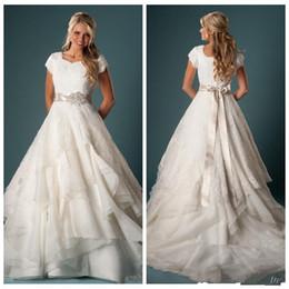 Wholesale Wedding Dress Crystal Beading Designs - Country Lace Wedding Dresses 2017 New Design Vestidos De Noiva A-Line Beaded Crystal Sash Short Sleeve Ruffled Organza Bridal Gowns W1033