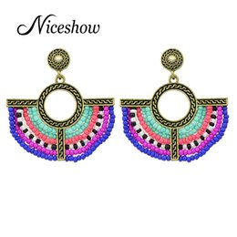 Wholesale India Ethnic - Bohemian Style Ethnic Jewelry Antique Gold Silver Plated with Colorful Beads Sector Shape Drop Earrings for Women From India