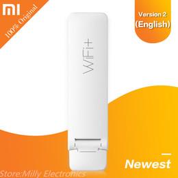 Wholesale Router Signal Extender - Original Xiaomi WIFI Amplifier 2 Wireless Wi-Fi Repeater 2 Network Wireless Wi-Fi Router Extender Antenna Wifi Repitidor Signal Extender 2