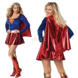 Wholesale Superhero Adult Costume - 2017 Fashion Sexy Supergirl Superwomen Superman Superhero Adult Halloween Costume Cosplay Party Club Dress Uniforms DHL Free