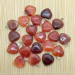 Wholesale Red Carnelian Beads - natural stone heart pendant BEADZTALK Natural Red Carnelian Stone Bead Charm Jewelry Heart Pendant DIY Making Necklace Findings