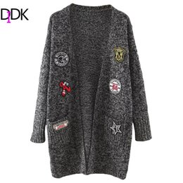 Wholesale Cardigan Open - Wholesale-DIDK Womens Cardigan Sweaters Ladies Autumn Long Sleeve Marled Knit Patch Open Front Long Cardigan With Pockets
