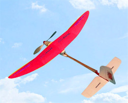 Wholesale Wooden Airplanes - Free Shipping Albatross Rubber Powered Plane DIY Assembly airplane model puzzle children gift Educational Toy themore thecheaper