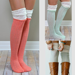 Wholesale Long Boot Cuffs - Women Knitted Stockings Ladies Spring Autumn Warm Socks Crochet High Knee Socks Long Boot Cuffs leg warmers 9colors