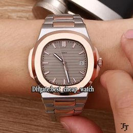 Wholesale Yellow Rose White Gold Bracelets - High Quality New Cheap PP Nautilus 5711 5711 1 Gray Dial Automatic Mens Watch Rose Gold Two Tone Stainless Steel Bracelet Gents Watches