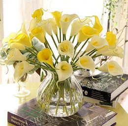 Wholesale Orange Lily Wedding Bouquets - Artificial Calla lily PVC Real Touch bride Bouquet flower Home Wedding Decor Flowers & Wreaths 10 colors