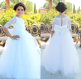 Wholesale Kids Shirt Tie - 2018 Cheap Short Flower Girl Dresses with Bow Tie for Bohemia Beach Wedding Dresses Lace A-Line Kids Formal Party Dresses