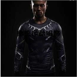 Wholesale Super Hero Shirts - Super Hero Captain America Panther Tights Iron Man Fitness Clothing Superman T-shirt Men Fast Dry Compression