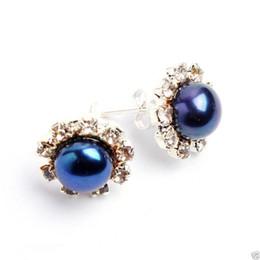 Wholesale Blue Freshwater Pearl Earrings - Fashion Real 8-8.5mm Blue Akoya Freshwater Pearl Crystal Silver Stud Earring 2pc Earrings