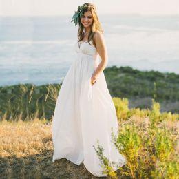 Wholesale Taffeta Wedding Dresses Pockets - 2017 Empire Waist Dress Beach Weddings Dress Spaghetti Straps Country Style Wedding Dress with Pocket Cheap High Quality