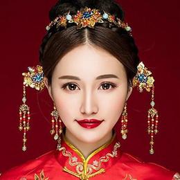 Wholesale Gold Coronet - Free Shipping Handmade New Creative The new Chinese style wedding bride headdress costume Hair Barrette Fazan antique Coronet suit