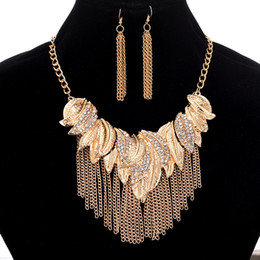 Wholesale Indian Feather Necklace - 2018 New Fashion Earrings Necklace Set, 10K Gold Plated Alloy Feathers Metal Tassels Pendant Necklace Women Rhinestone Short Necklace 5SETS