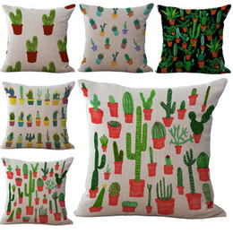 Wholesale Plant Dye - Cactus Prickly Pear Potted Plant Pillow Case Cushion cover Linen Cotton Throw Pillowcases sofa Bed Pillow covers Drop shipping PW421
