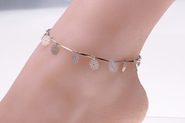 Wholesale Sports Rhinestone Jewelry - Single Rows Ankle Hollow rhinestone Rose Flower Chain Anklets Foot star Leg Chain Foot Jewelry for women Barefoot Beach jewelry woman
