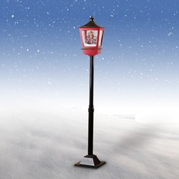 Wholesale Led Snowfall Christmas - Snowing Santa Christmas Tree Street Lamp Festive Waterproof Decoration with Snowfall western snow street Musical LED Lights angel Christmas