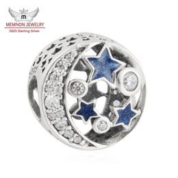 Wholesale Bracelet Enamel Blue - Memnon Jewelr 925 Sterling Silver Christmas Charm Shimmering Midnight Blue Enamel & Clear CZ Vintage Night Sky Beads Fit bracelet DIY BE413
