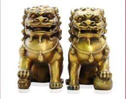 Wholesale Bronze Foo Dogs - Chinese fengshui Bronze Guardian Door Phylactery Foo Dog Lion Statue Pair