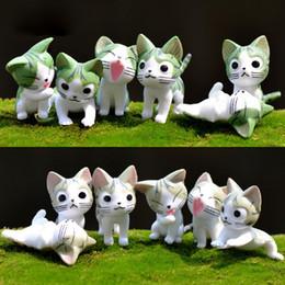 Giapponese in miniatura online-30 pz / 5 set miniatura chi dolce casa giocattoli carino formaggio gatto giapponese pvc anime cartoon manga figure per il bambino / bambino succulente in vaso