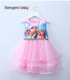 Wholesale Short Chinese Dress Blue - Girls Moana princess TUTU Dress rapunzel dress kids princess party birthday lace sleeveless dresses 2 color