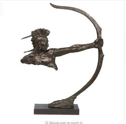Wholesale Abstract Home Crafts - Arts Crafts Copper ATLIE BRONZES Nouveau Art copper bronze Abstract Archer Indians bow archery sculpture Bowman handicrafts Indoor home Deco
