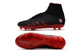 Wholesale Wholesale Indoor Soccer Shoes - New 2017 Black Red Hypervenom Phantom II FG Neymar x JR Soccer Cleats CR7 Indoor Soccer Shoes