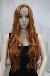 Wholesale Wig Orange Curly Long - New Fashion No Bangs Side Skin Part Top Women's orange brown Long Curly Wavy Wig free shipping