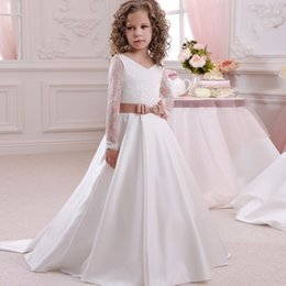 Wholesale Custom Silk Flower Balls - 2017 Generous Custom Made Flower Girl Dress Appliques Bow Lace Beads Tribute Silk First Communion Dresses Tulle Ball Gowns