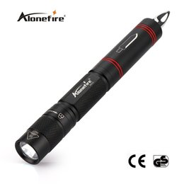 Wholesale Pen Torches Led - AloneFire BK02 XPE Q5 LED Multifunction Flashlight Torch Tactical with Pen Knife Self Defense Tool mini Black Torches Portable Lighting