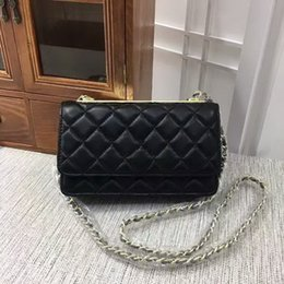 Wholesale Designer Lambskin Handbags - Hot sales women 20cm mini Fashion High quality original brand designer handbag Shoulder Bags totes purse Lambskin Gold chain (5 color) #1267