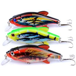 Wholesale Hook Sea Water - New Arrival 3Pcs Lot Lifelike Paint Fishing Crank Bait Hard Lures With Treble Hooks Floating Top Water Lure For Ice Sea Carp Fishing
