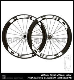 Wholesale Carbon Wheel Sets Clincher - Free shipping 25mm width HED paint 60mm carbon wheelset full carbon 700C road bike bicycle wheelswheels
