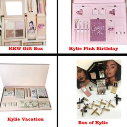 Wholesale Color For Mix - KKW Kylie Vacation Pink Birthday Box of Kylie Edition Bundle Makeup set Gift Box for Eyeshadow, Matte Velvet Lipstick, Highlighter, Powder