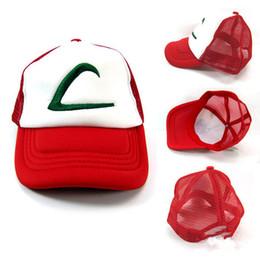 2019 pokemon gorra de béisbol 4 del diseño del sombrero del amaestrador de Ketchum de la astilla del diseño Sombrero adulto del acoplamiento Gorro del traje de Cosplay Sombrero LC410-3 del béisbol del camionero pokemon gorra de béisbol baratos