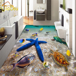 Wholesale Plastic Murals - Wholesale- Custom 3D Waterproof Floor Mural Underwater World Starfish Sea Hotel Bedroom Bathroom Floor Self-adhesive Wallpaper Home Decor