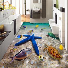 Wholesale Underwater Wallpaper Murals - Wholesale- Custom 3D Waterproof Floor Mural Underwater World Starfish Sea Hotel Bedroom Bathroom Floor Self-adhesive Wallpaper Home Decor