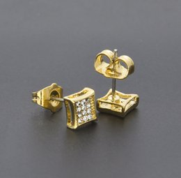 Wholesale Cubic Zirconia Screw Backs - Hip Hop Kite Screw Backs Earrings Iced Out 3 Row Silver Plated Micro Pave Bling Stud Earrings for Men