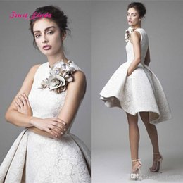 Wholesale Cheap Flower Robes - Robe De Soiree Courte Hot Sale Cheap Evening Dresses O Neck Flower Sleeveless Ivory Lace Prom Gowns A Line Short Dresses For Party