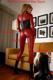 Wholesale Women Leather Costume - Women Black Red Sexy Faux Leather Clubwear Lattice Pattern Lingerie Adult Jumpsuit Catsuit Zipper to Crotch 2 Way Zipper Exotic Costumes