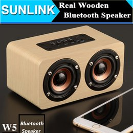Wholesale Dual Aux - Dual-horn Wooden Bluetooth Wireless Portable Speaker With Bass Music Sound Intelligent Calls Handsfree TF Card Aux Mode Voice Reminder